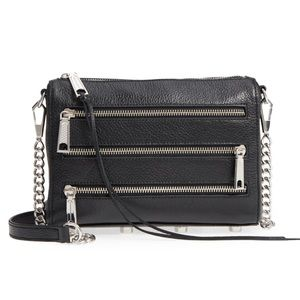 NWT! Rebecca Minkoff Mini 5 Zip Black Crossbody